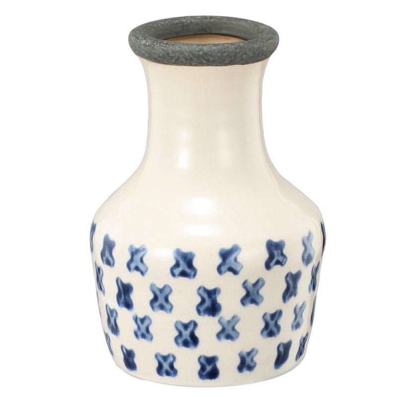 Blue/Cream Dosch Vase by Mercury Row
