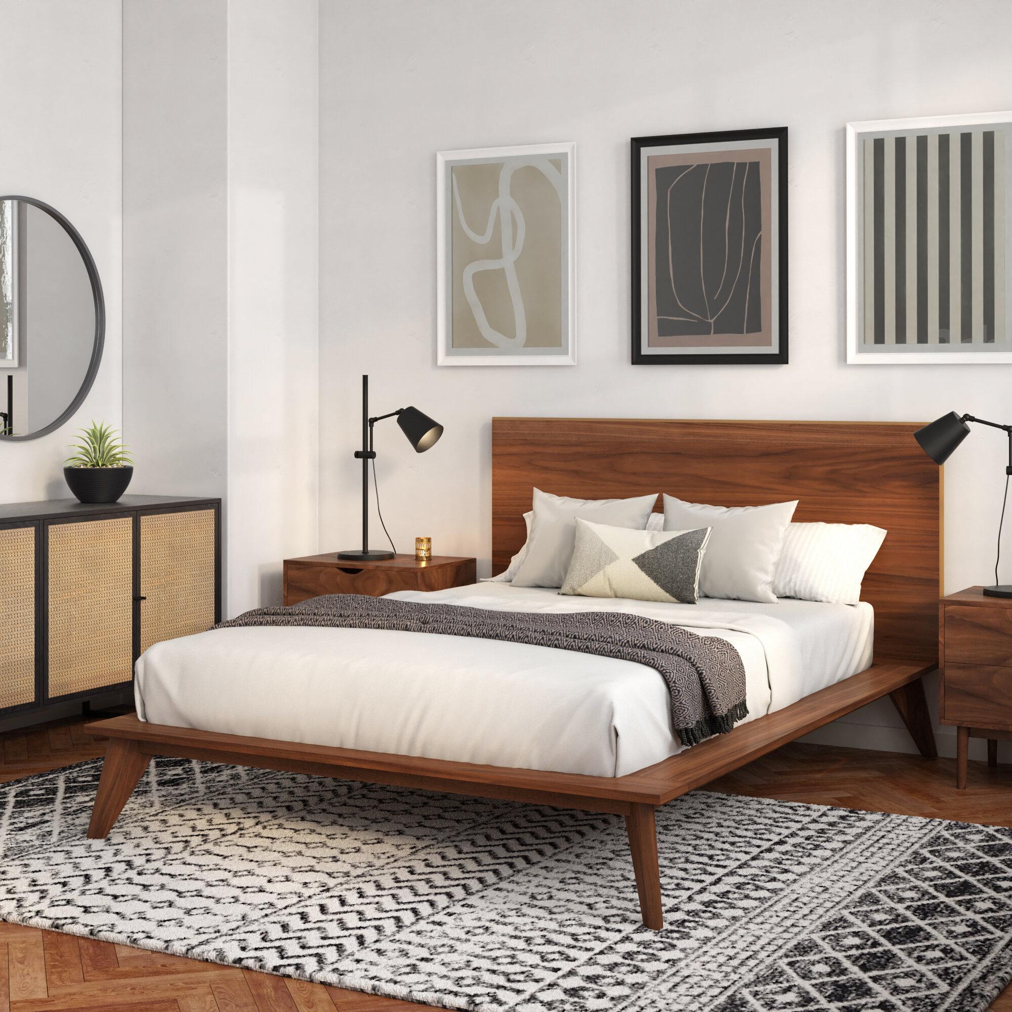 Solid Wood Platform 3 Piece Bedroom Set