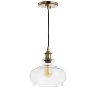 Lora Adjustable Drop Pharmacy 1-Light Schoolhouse Pendant by Brayden Studio