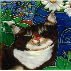 Sleeping Cat  #2 Tile Wall Decor