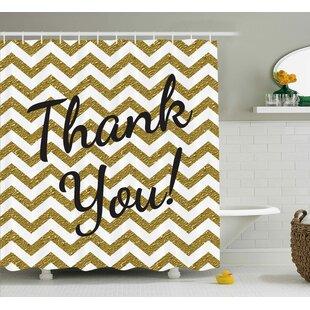 Gustavo Thank You Decor ZigZag Shower Curtain + Hooks