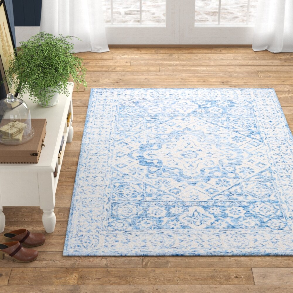 Elliot Hand Hooked Wool Pale Blue Ivory Area Rug Reviews Birch Lane