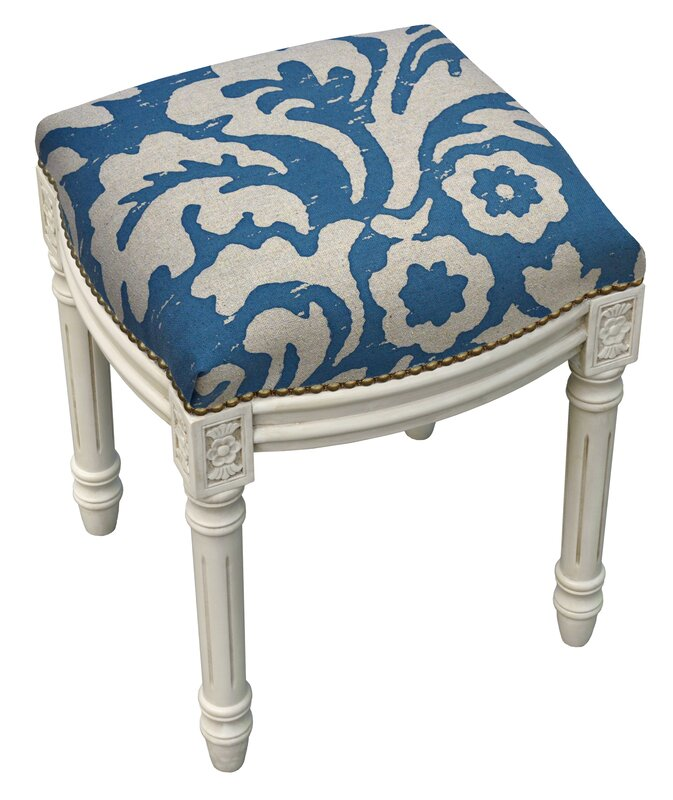 123 Creations Floral Jacobean Linen Upholstered Vanity Stool ...