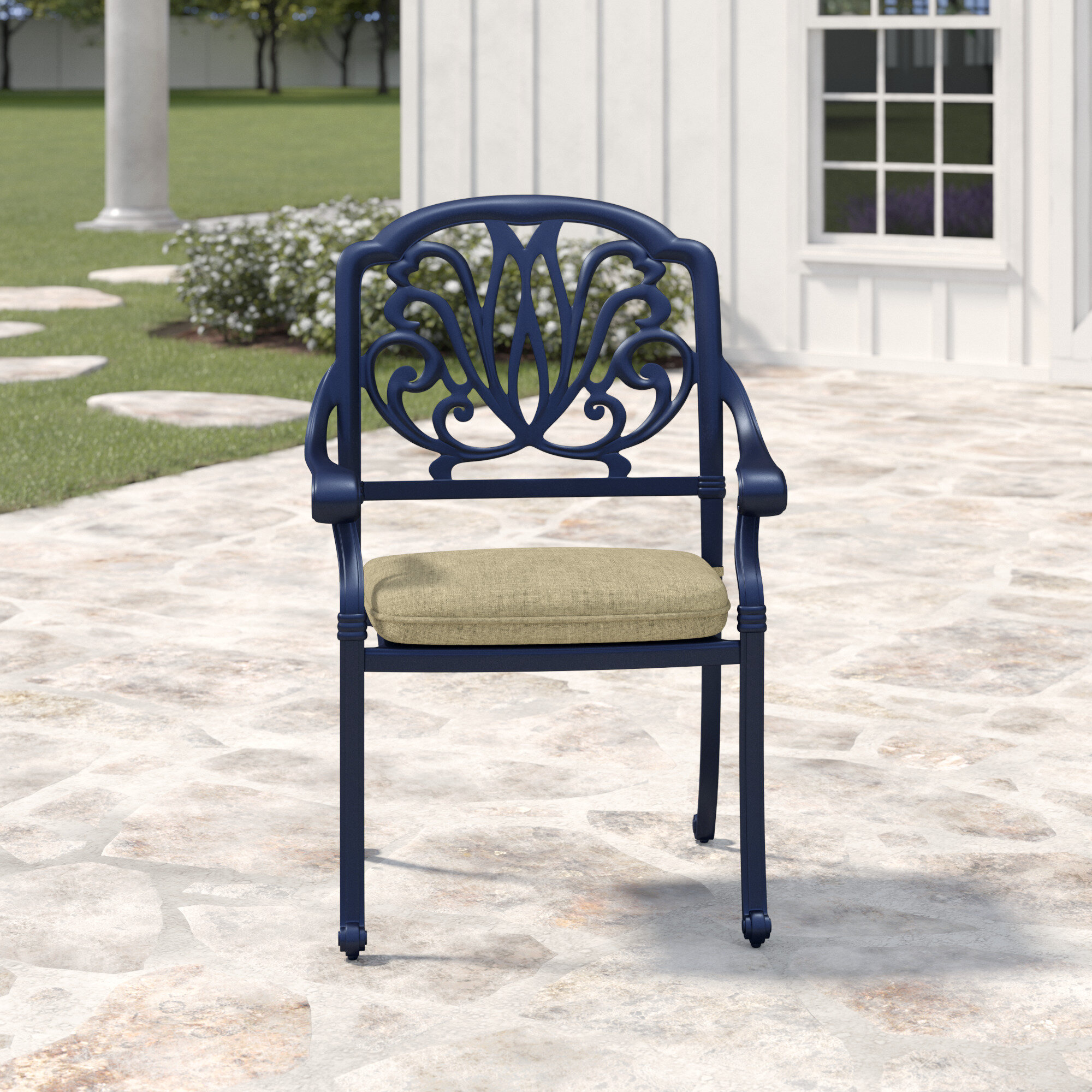 Moraine Stacking Patio Dining Chair With Cushion Birch Lane