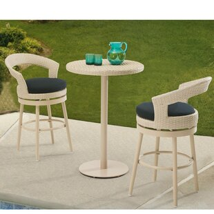 Harborcreek 3 Piece Bar Table Set with Cushions by Red Barrel Studio