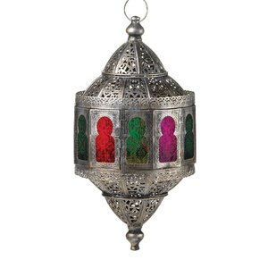 Moroccan Hanging Iron and Glass Lantern