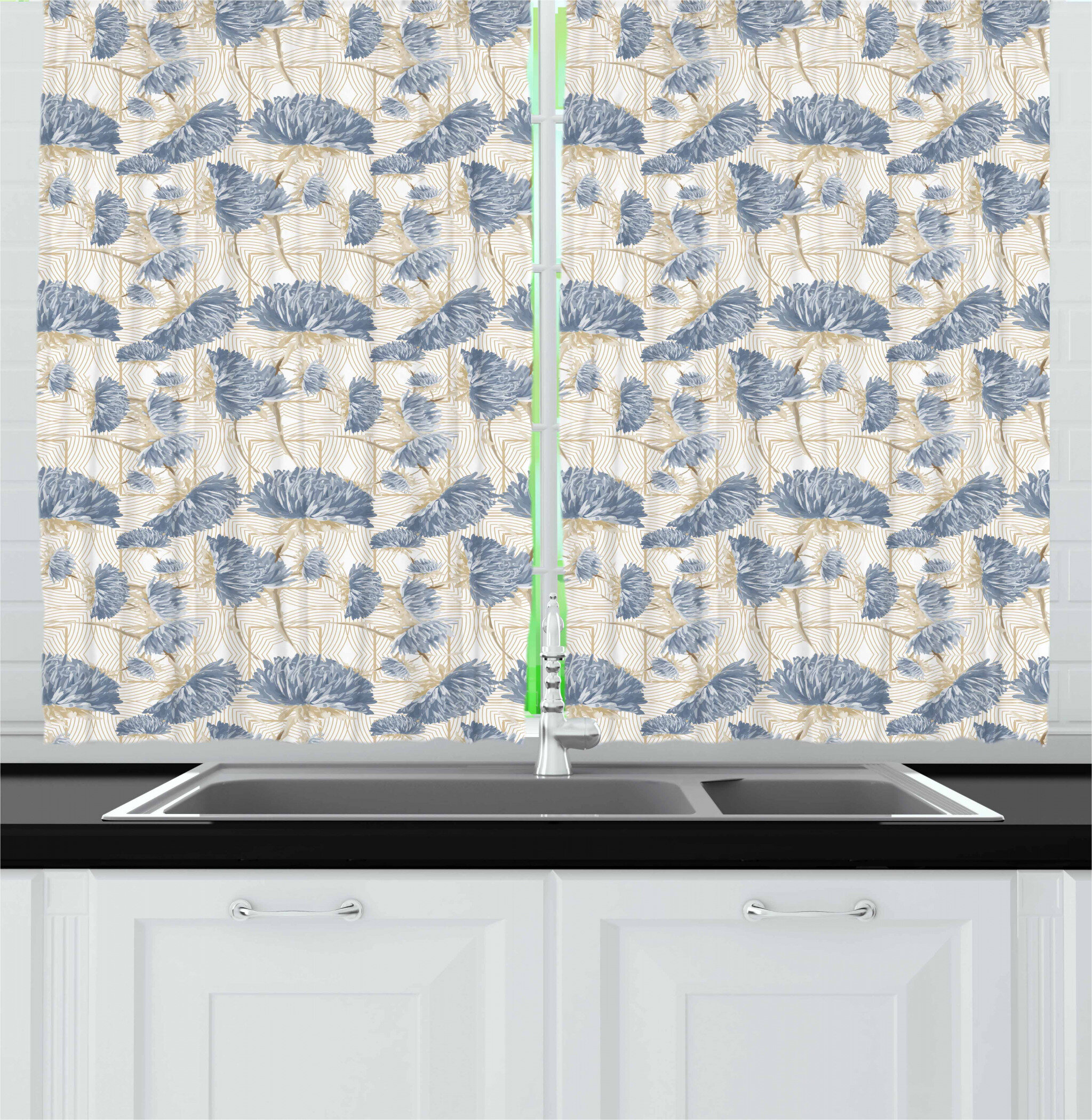 East Urban Home Aster Kitchen Curtain Wayfair