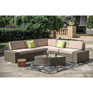 Pierceton 6 Piece Rattan Sectional Set with Cushions