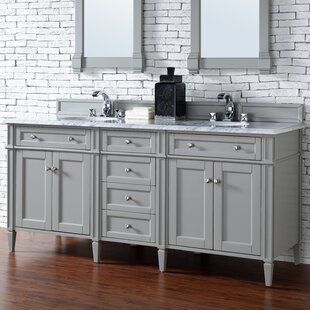 Deleon Traditional 72 Double Urban Gray Wood Base Bathroom Vanity Set by Darby Home Co