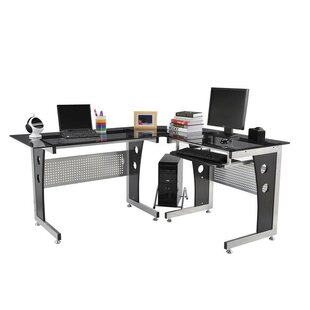 HomCom Modern L-Shaped Computer Desk