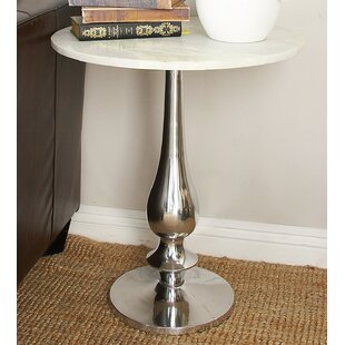 Aluminum and Marble End Table by Cole & Grey