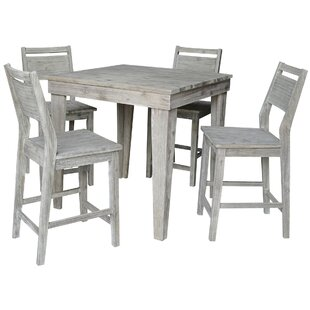 Gammons Solid Wood Counter Height 5 Piece Pub Table Set Gracie Oaks