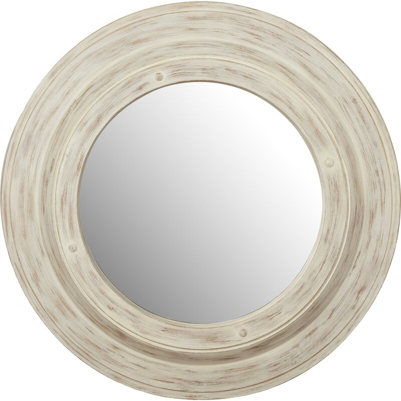 White Wash Round Wall Mirror