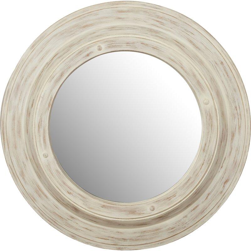 White Wash Round Wall Mirror