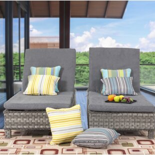 Highland Dunes Zachary Reclining Chaise Lounge with Cushion (Set of 2)