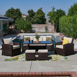Honey 6 Piece Rattan Sofa Seating Group with Cushions