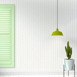 Nevaeh Herringbone Line Matte Fine Fabric Weave Peel And Stick Wallpaper Panel