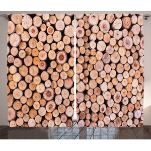 Wood Log Forest Tree Rustic Home Decor Graphic Print Room Darkening Rod Pocket Curtain Panels (Set of 2)