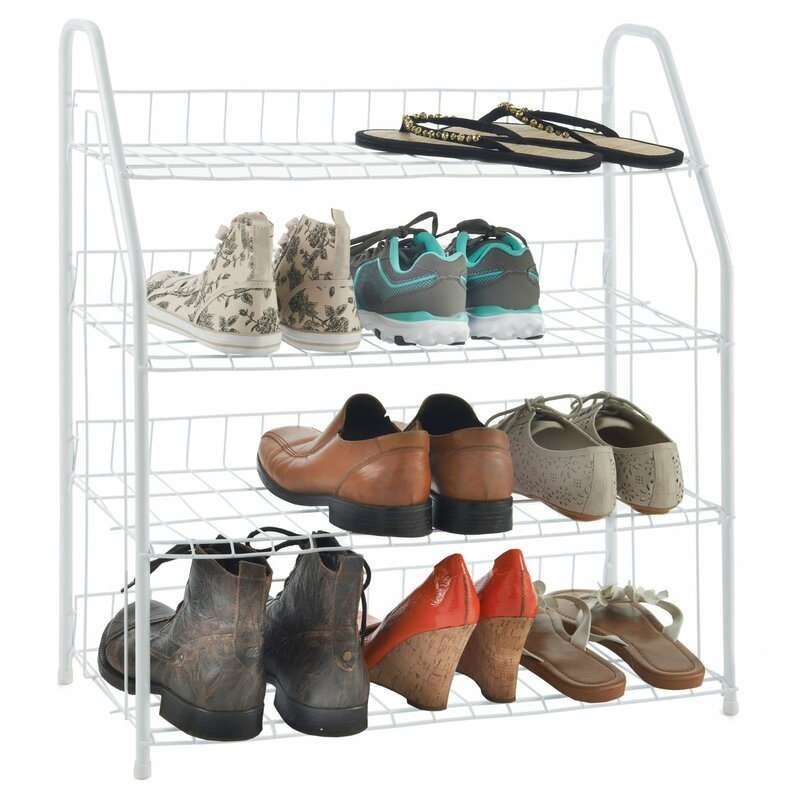 Above Edge 16 Pair Stackable Shoe Rack  Finish: White