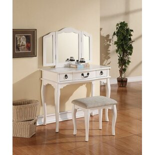 Darby Home Co Mahalia Tri-Folding Vanity Set with Mirror