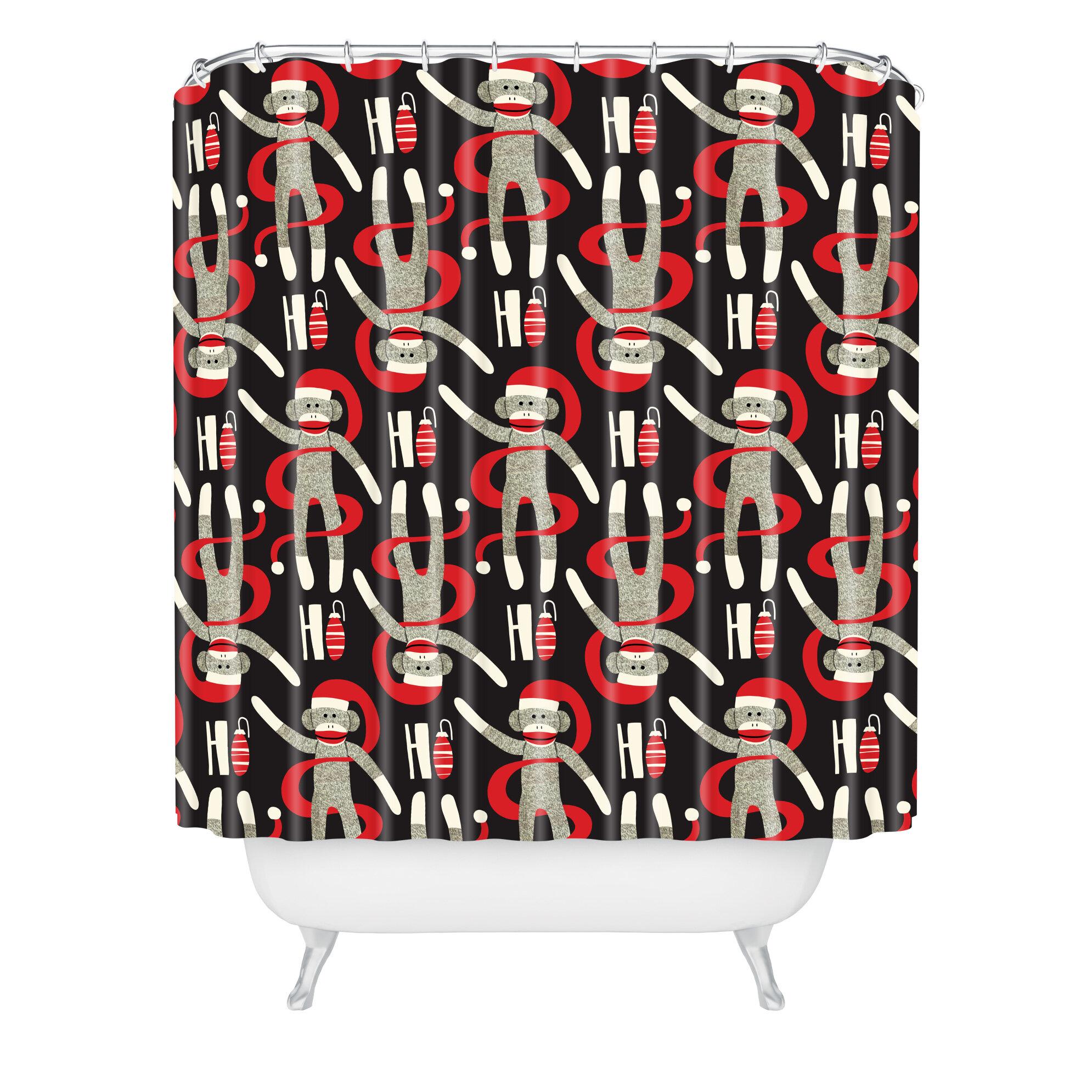 East Urban Home Heather Dutton Sock Monkey Santa Single Shower Curtain Wayfair