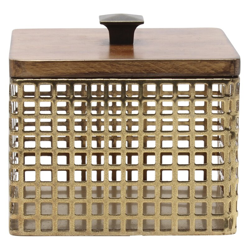 Kate and Laurel Glenda Perforated Metal Container | Wayfair