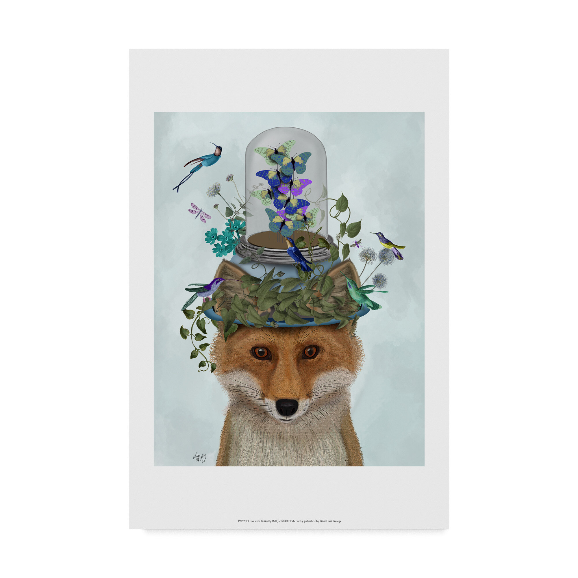 Winston Porter Fox With Butterfly Bell Jar Graphic Art Print On Wrapped Canvas Wayfair