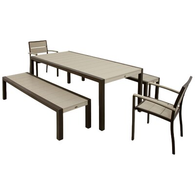 Awesome Trex Surf City 5 Piece Bench Dining Set Color Textured Machost Co Dining Chair Design Ideas Machostcouk