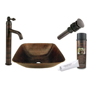 Savings Metal Square Vessel Bathroom Sink with Faucet ByPremier Copper Products