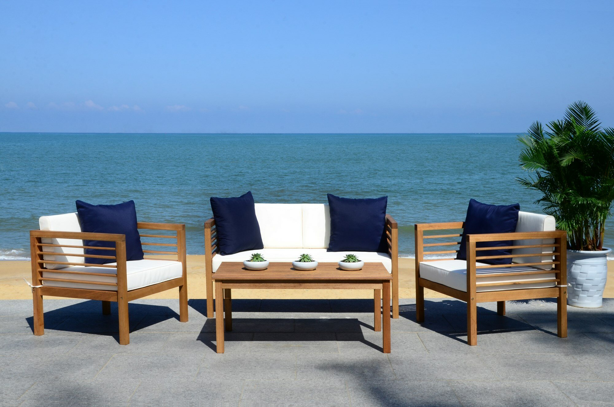 Beachcrest Home Daytona 4 Piece Sofa Set with Cushions & Reviews