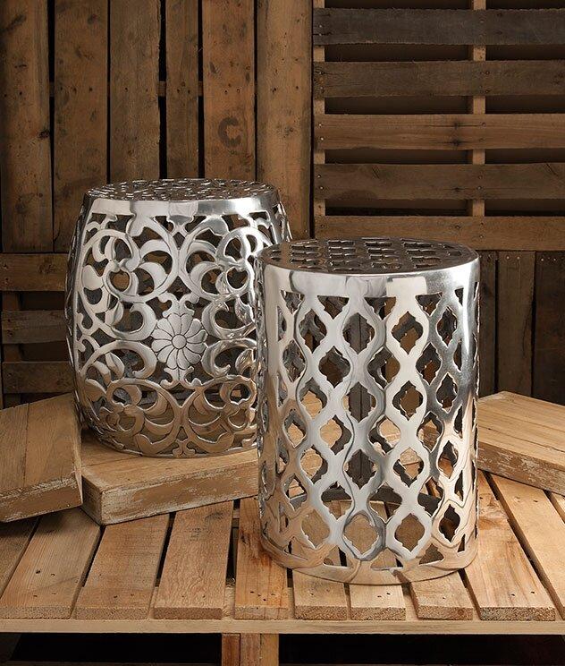 Awesome Fretwork Aluminum Garden Stool
