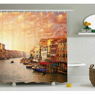 Bentonville Scenery Venezia Italian Decor Landscape With Old Houses Gondollas and Spikes Image Single Shower Curtain