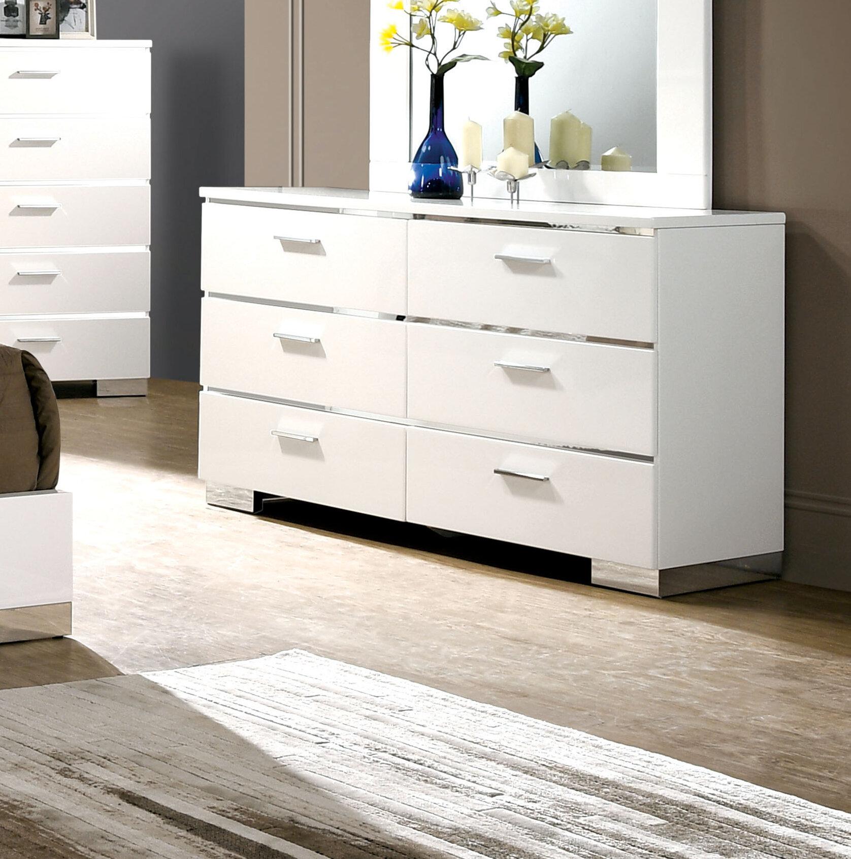 Brayden Studio Ricka 6 Drawer Double Dresser With Mirror Reviews Wayfair
