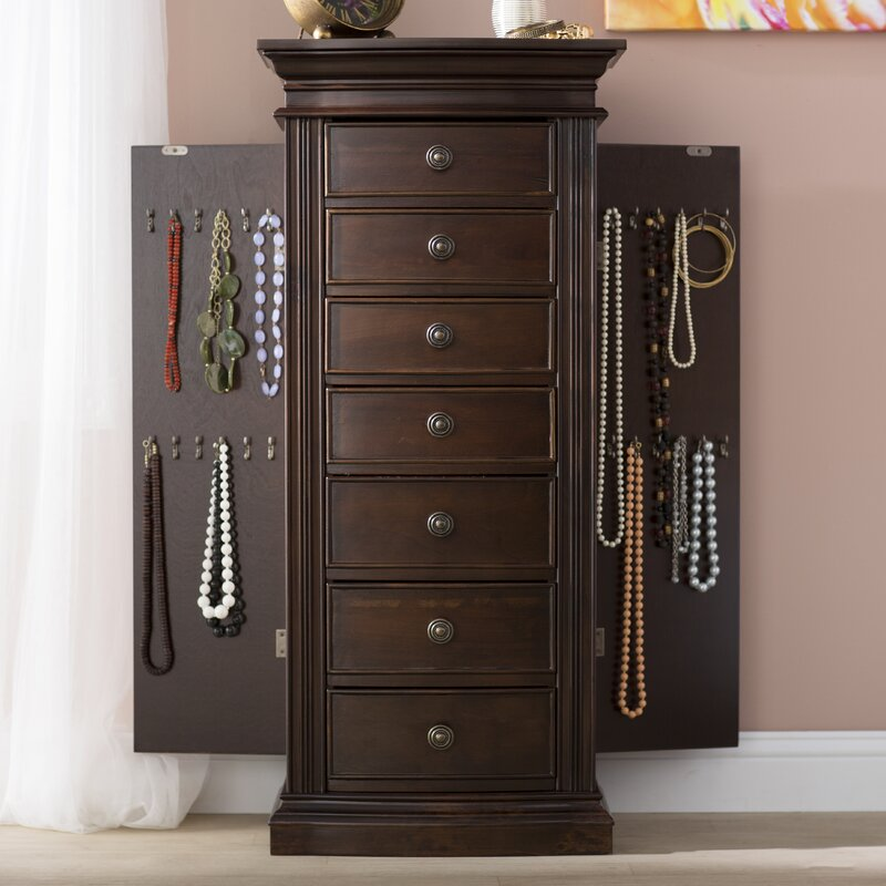 Canora Grey Aitkin Jewelry Armoire with Mirror Reviews Wayfair