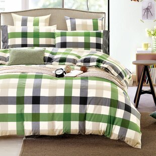 Shad Fresh Plaid Cotton Reversible Duvet Cover Set