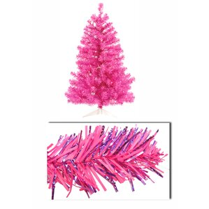 3 artificial sparkling tinsel christmas tree with 50 pink light - Light Pink Christmas Tree