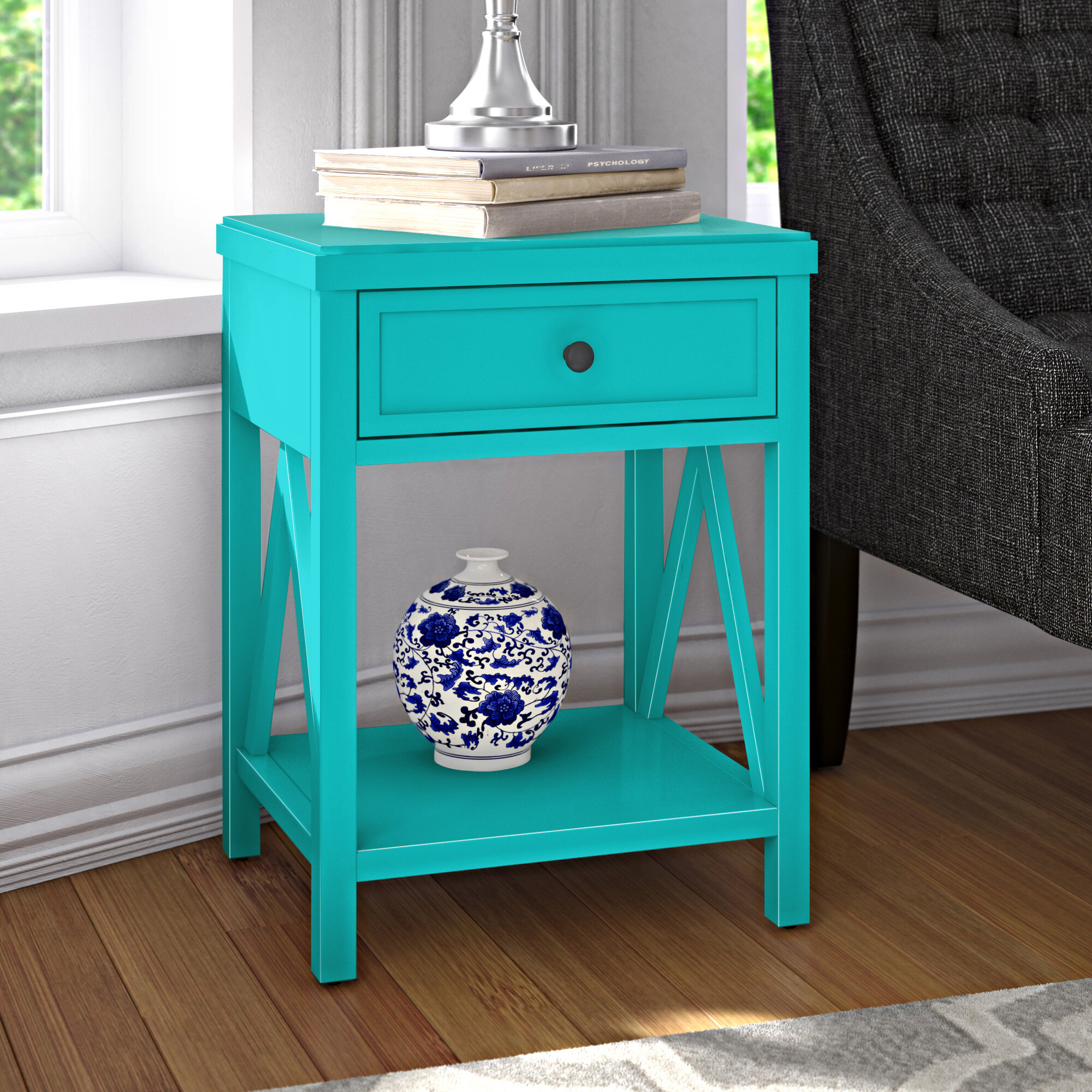 Andover Mills Nadeau Solid Wood End Table With Storage Reviews Wayfair
