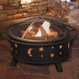 Star and Moon Steel Wood Burning Fire Pit by Pure Garden