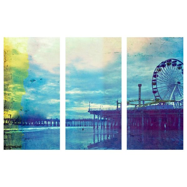 Latitude Run Santa Monica Pier Blues Triptych Graphic