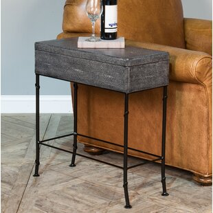 Sarreid Ltd Gray Leather Shagreen Box On Stand End Table with Storage