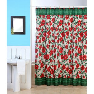 Orkney Christmas Poinsettia Shower Curtain