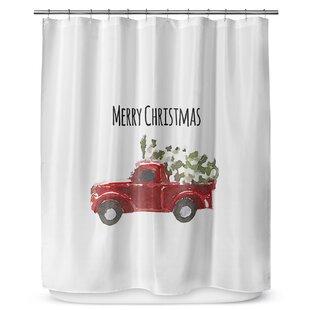 Christmas Truck Single Shower Curtain