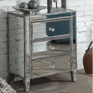 Claybrooks Large 3 Drawer Mirrored End Table with Storage