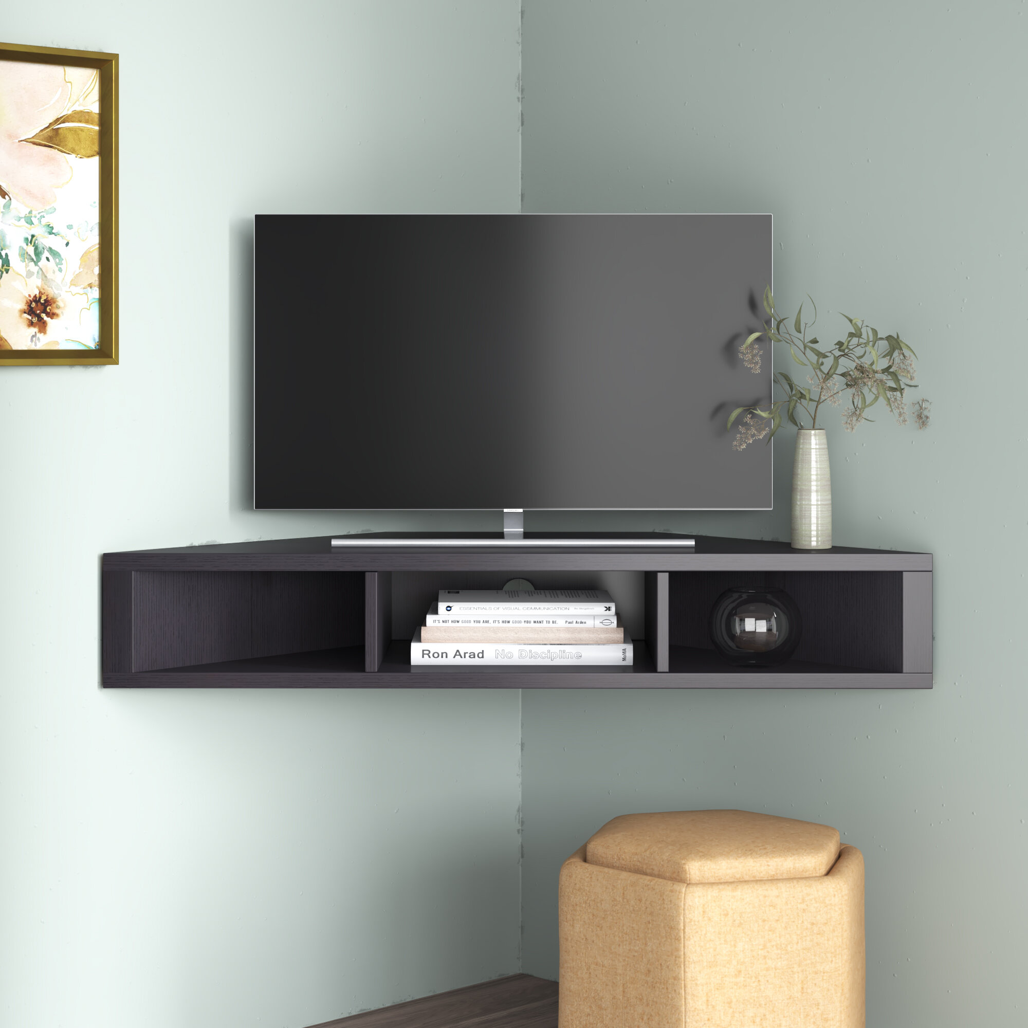 Ebern Designs French Floating Corner Tv Stand For Tvs Up To 50 Reviews