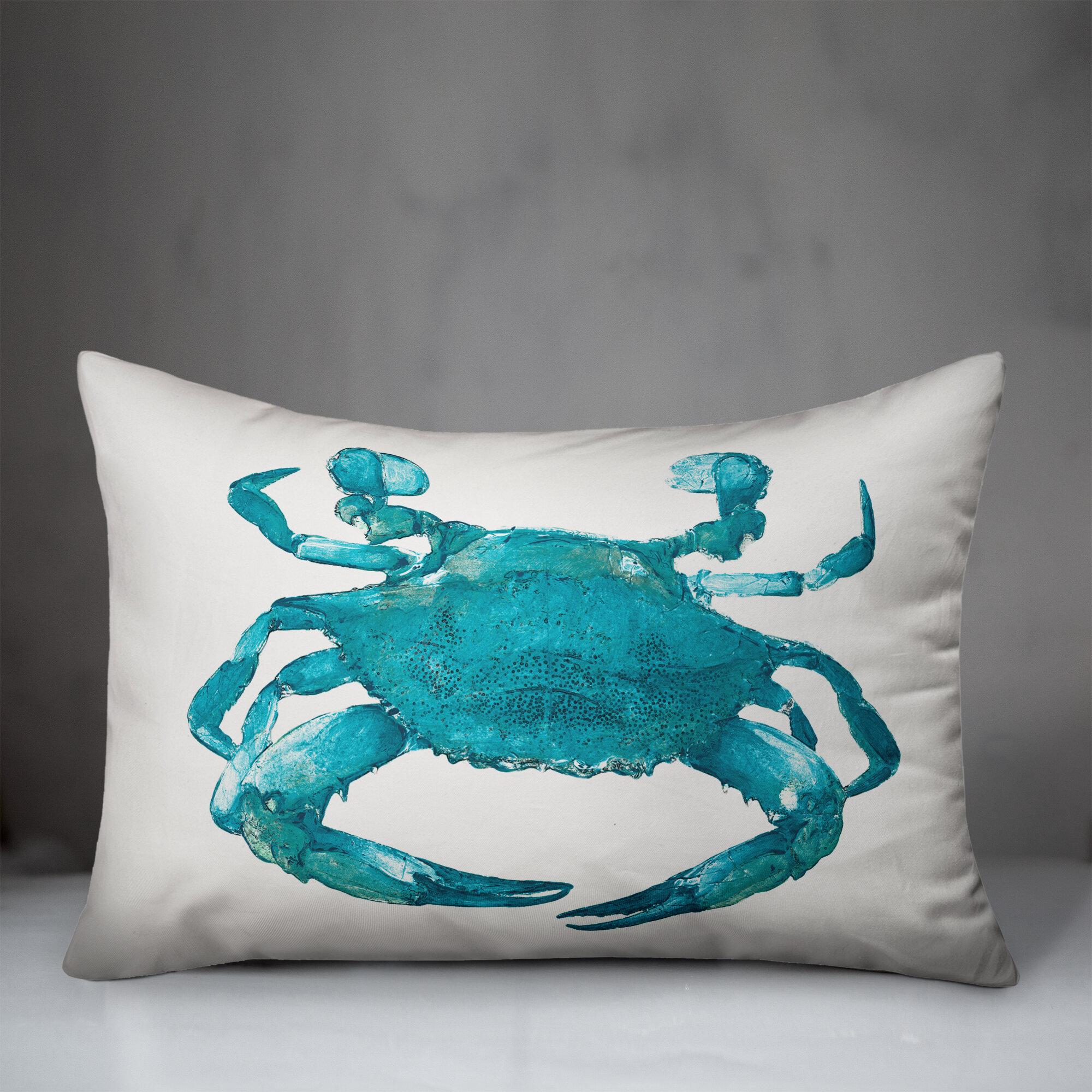 Designs Direct Creative Group Blue Painterly Crab Throw Pillow Wayfair