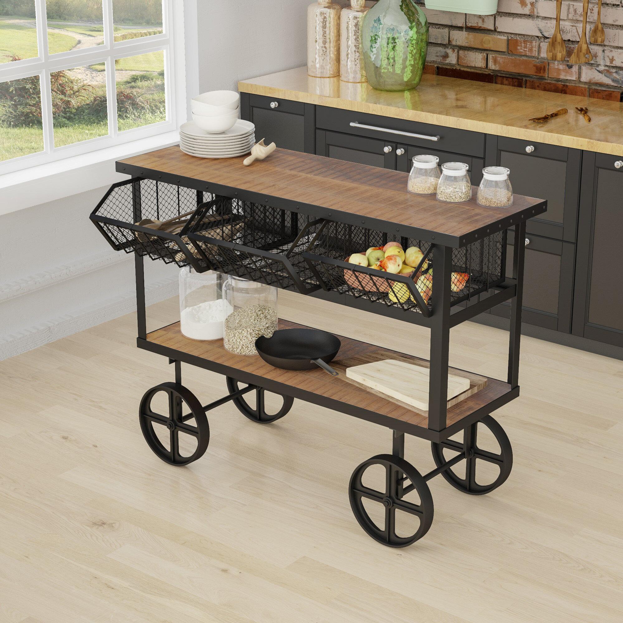 Trent Austin Design Odette Mango Wood Bar Cart | Wayfair