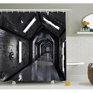 Outer Space Dark Futuristic Corridor of Spaceship Adventure Technology Sci-Fi Art Prints Shower Curtain Set