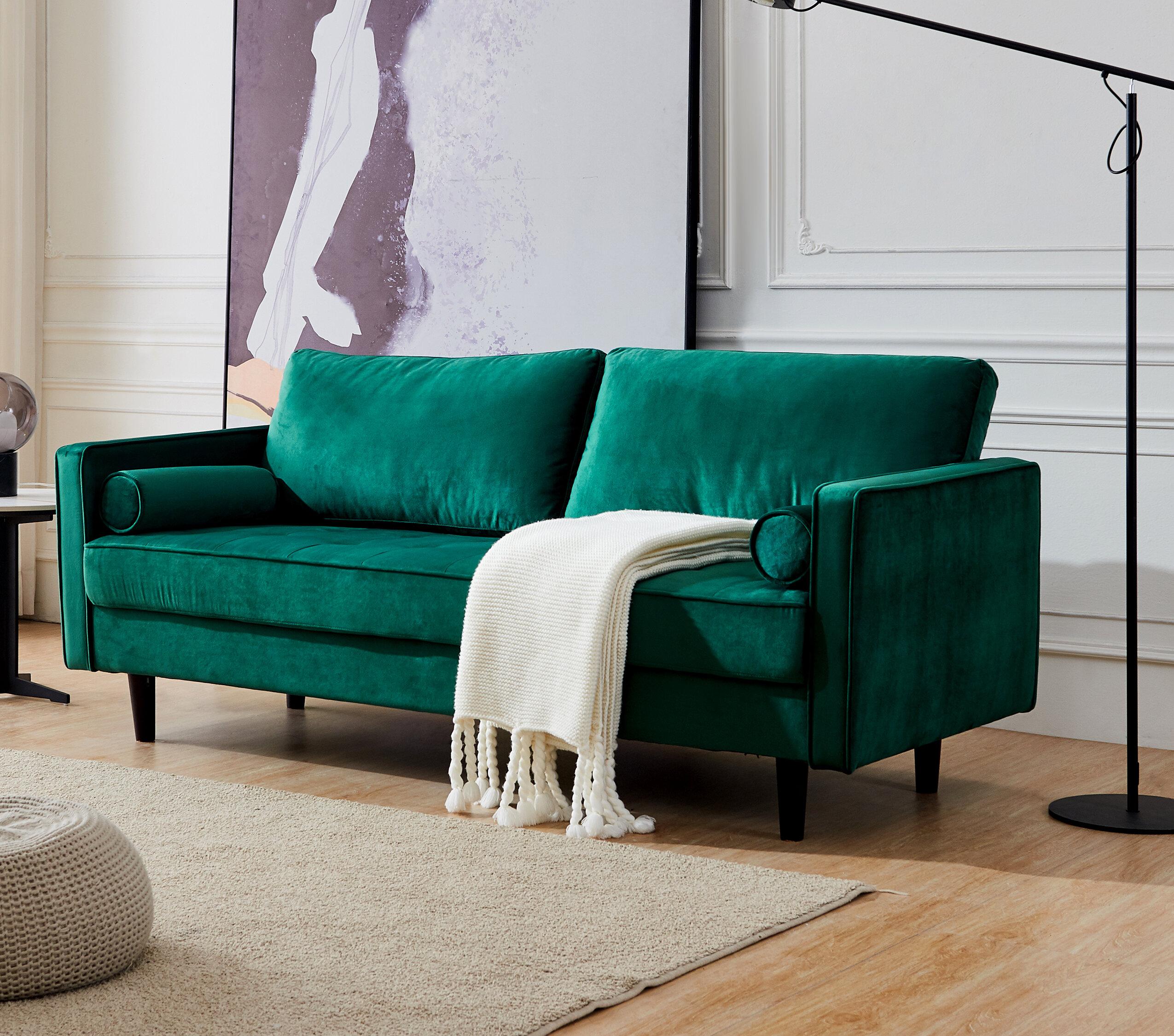 Corrigan Studio Mid Century Modern Velvet Fabric Bench Sectional Couch Sofa 79 W Red Wayfair
