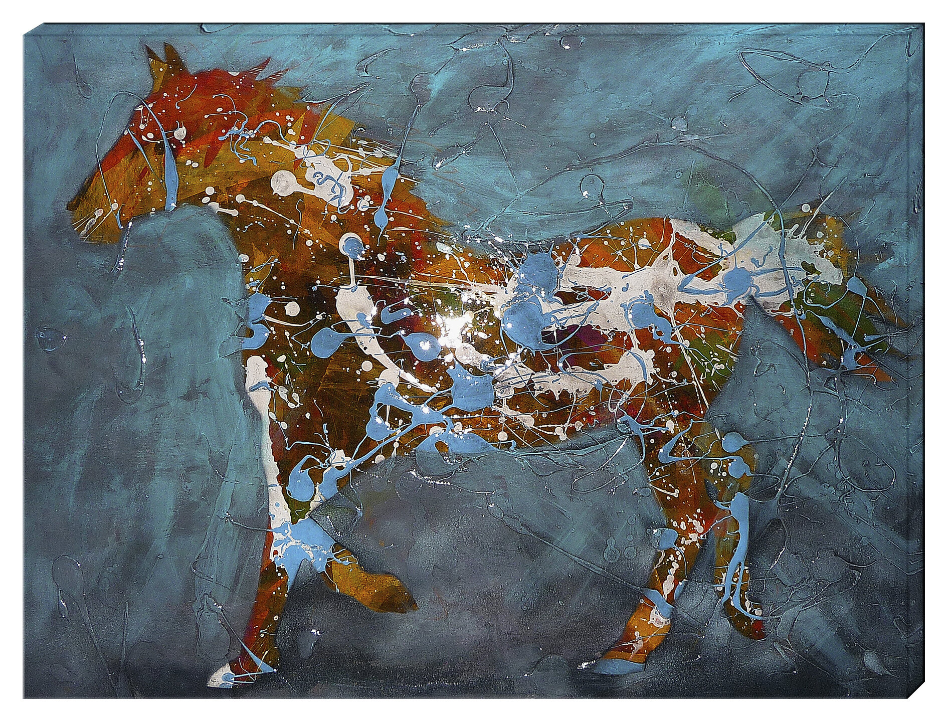 Hadleyhouseco Speckled Pony By Jeff Boutin Painting Print On Wrapped Canvas Wayfair