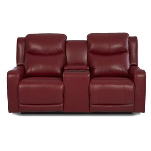 Theodore Leather Reclining Sofa Red Barrel Studio